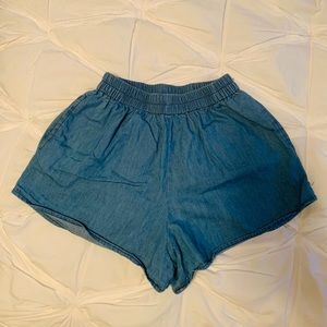 High Waisted Denim Shorts with Pockets